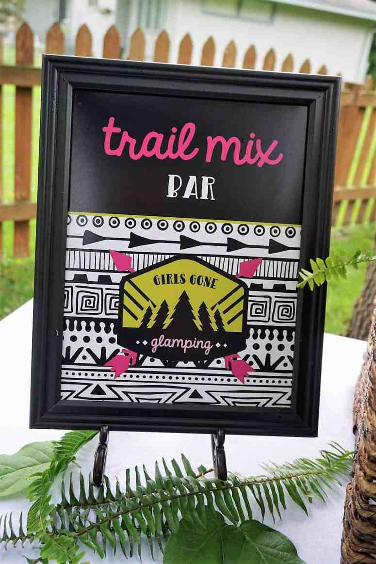 Girls Gone Glamping Trail Mix Bar Sign