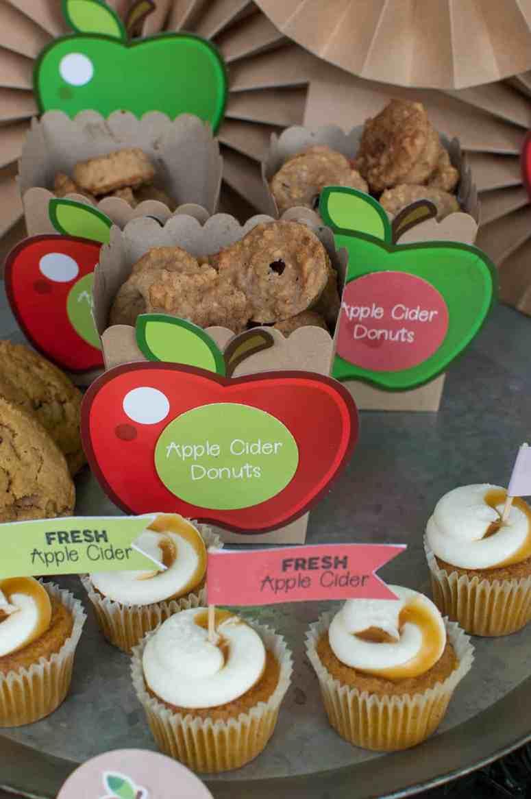 Mini Apple Cider Donuts in Oriental Trading Kraft Popcorn Boxes from Elva M Design Studio