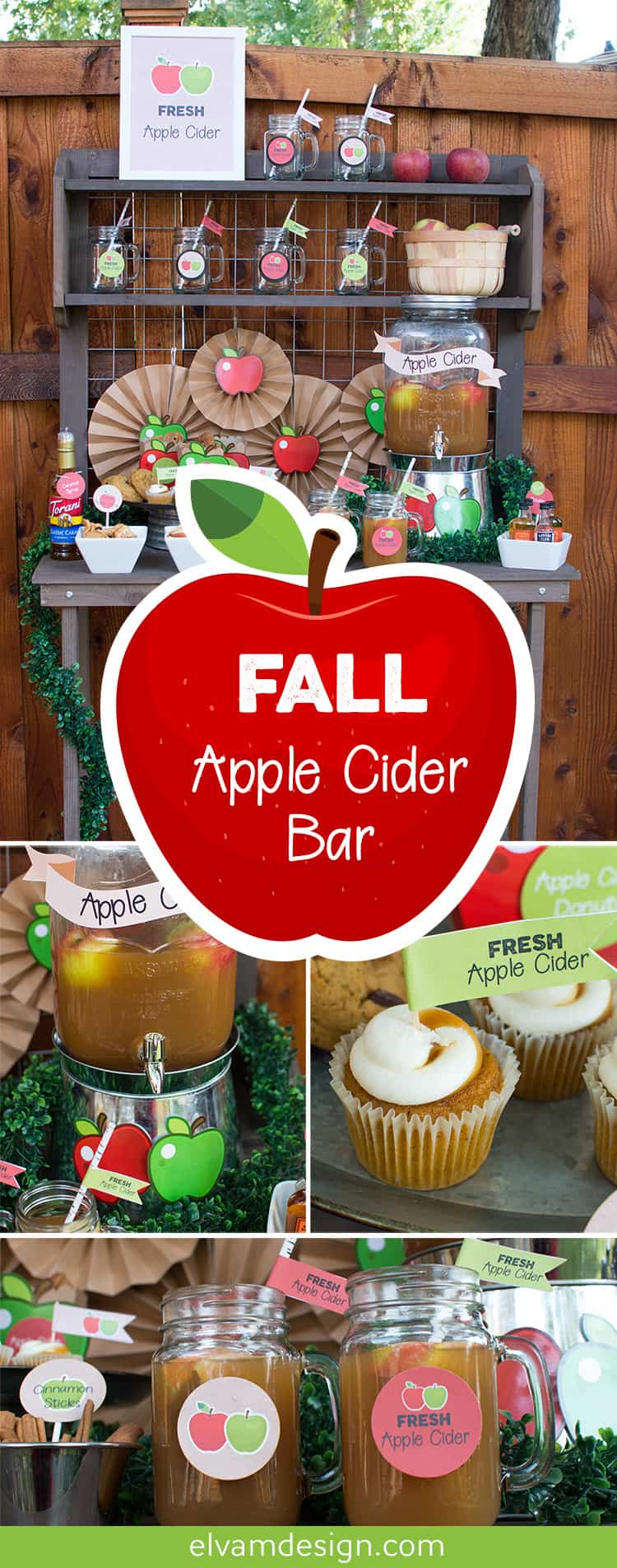 Check out this Fall Apple Cider Bar with tips to style your own bar at Elva M Design Studio