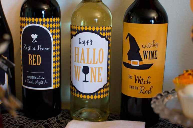 Halloween Wine Labels designed by Elva M Design Studio
