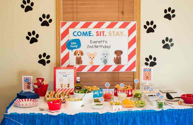 Puppy Party Hot Dog Bar styled by Elva M Design Studio