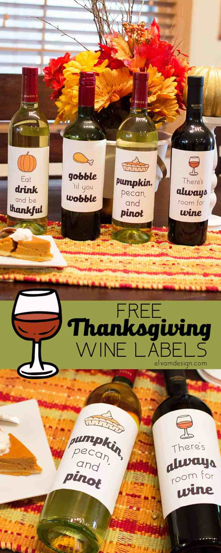 free thanksgiving wine bottle labels from elva m design studio