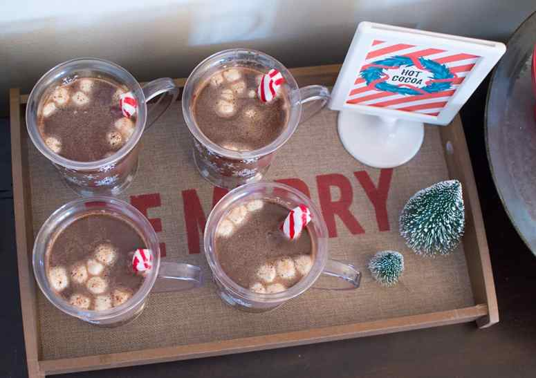 Holiday Hot Cocoa Bar - Tray serving hot cocoa