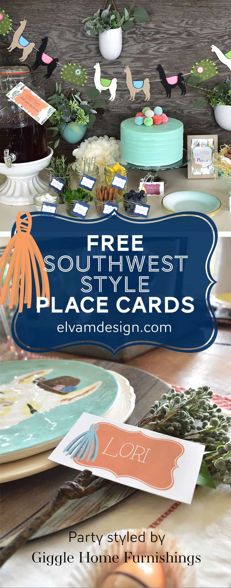 Free Southwest Style Place Cards from Elva M Design Studio.