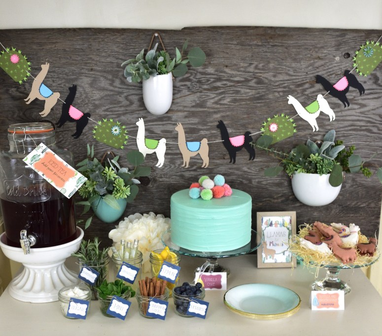 This Llamas & Mamas Mother's Day luncheon is styled by Giggle Home Furnishings with printables from Elva M Design Studio