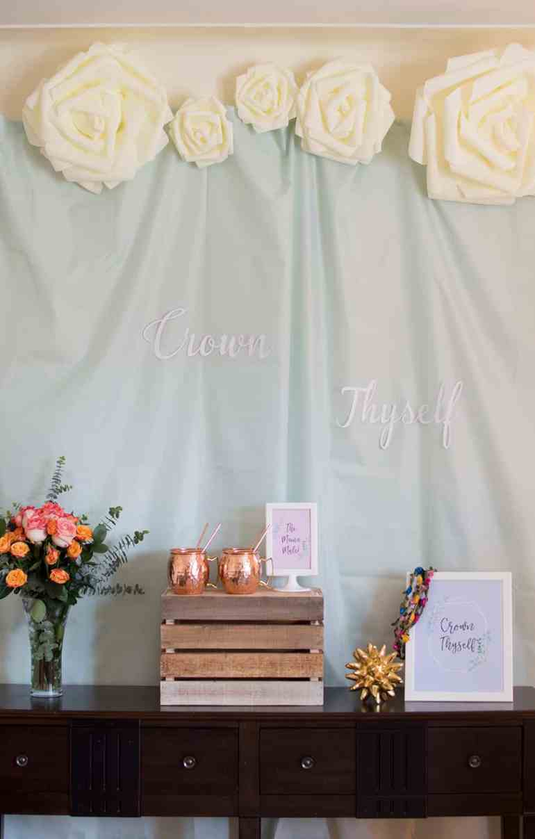 Crown Thyself Brunch Welcome Table styled by Elva M Design Studio