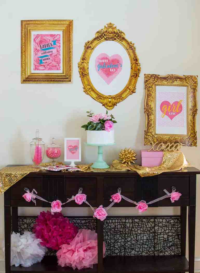 Girl Gang Galentine's Day Dessert Table styled by Elva M Design Studio. Learn how to put together this backdrop.