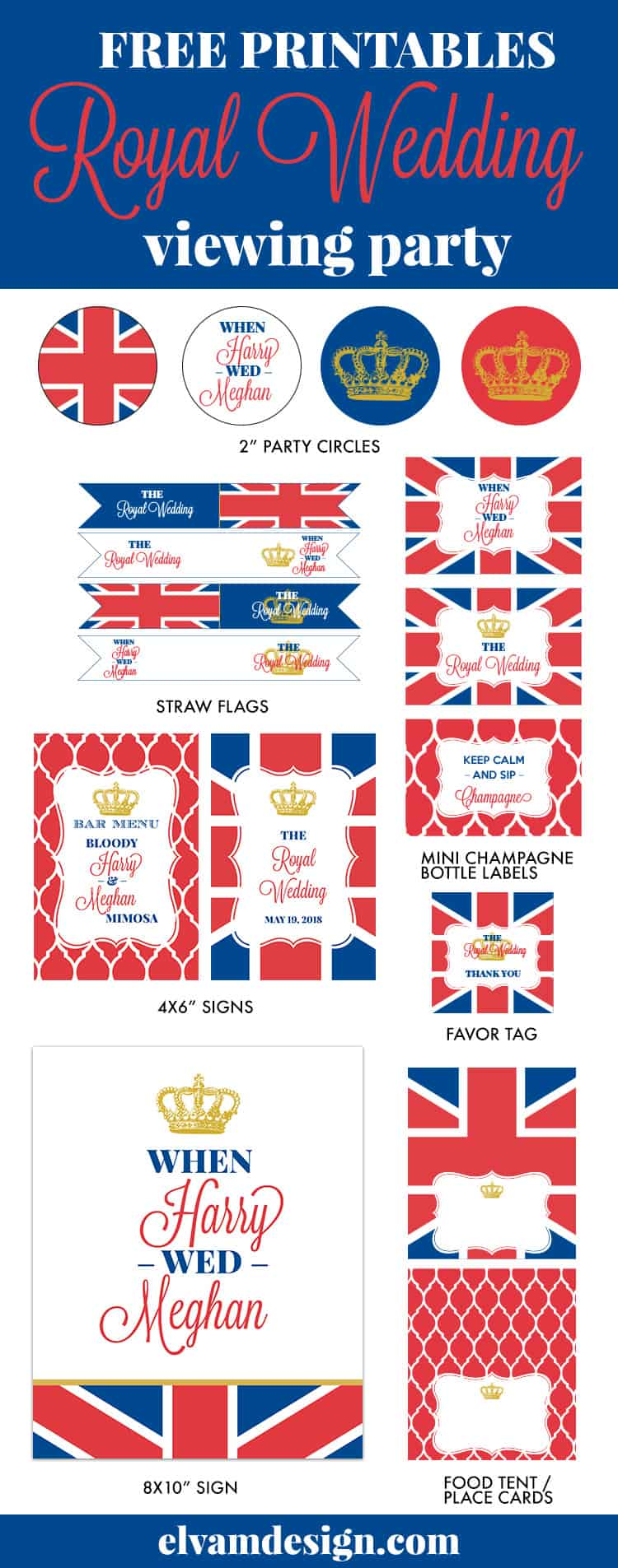 Free Royal Wedding Viewing Party Printables from Elva M Design. Grab your free printables at elvamdesign.com and check out some decoration ideas.