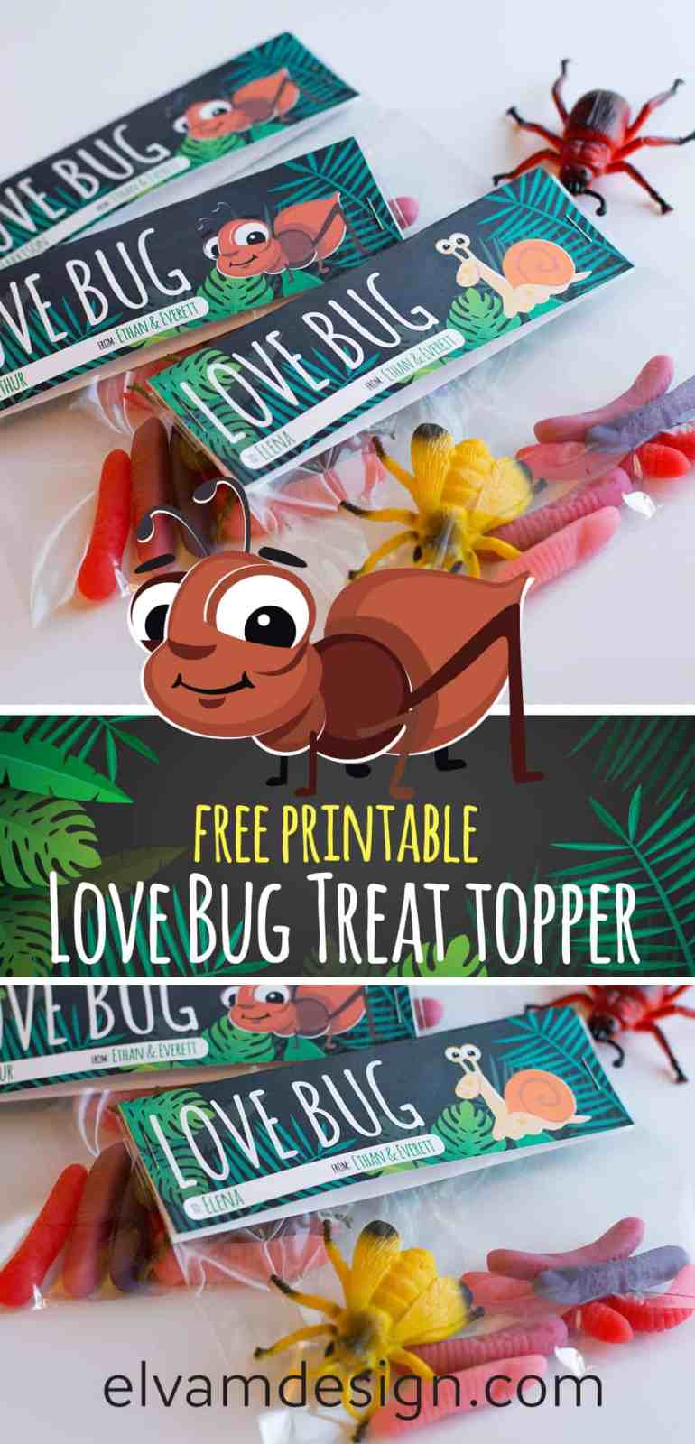 Download this free Love Bug Valentines Treat Topper at elvamdesign.com