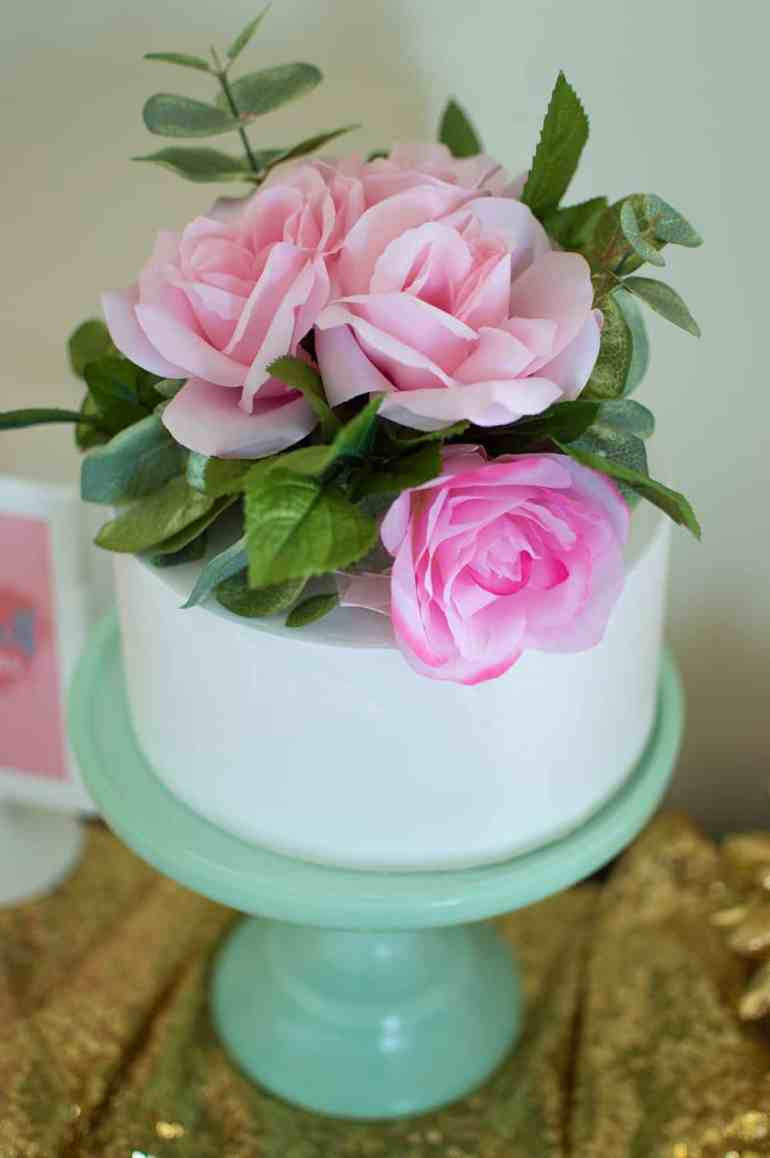 Confection Deception Cake with DIY faux floral cake topper