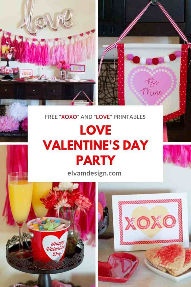 Check out this Love Valentine's Day Party from Elva M Design Studio and download two free printables