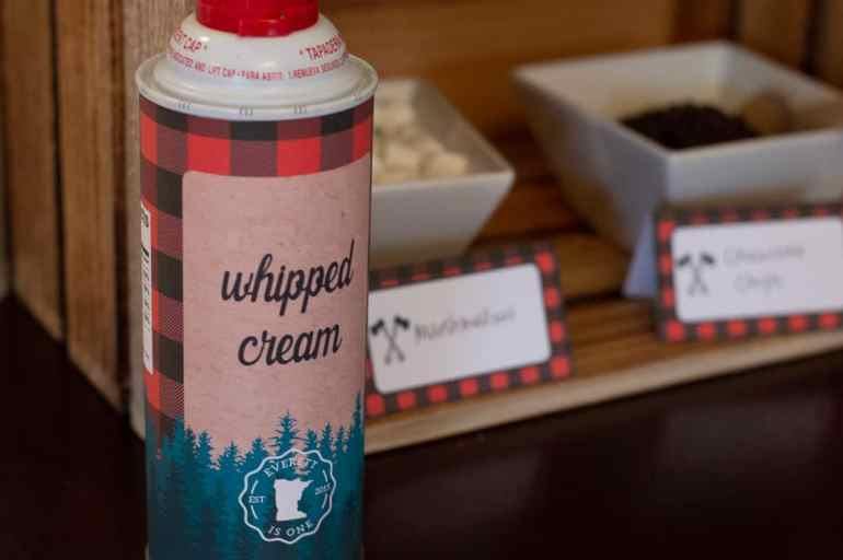 Lumberjack whipped cream printables from Elva M Design Studio
