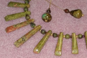 Unakite with Dragonsblood and Turquoise Drops