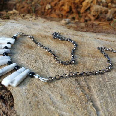 howlite and onyx with gunmetal chain
