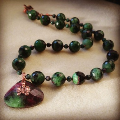 Ruby in Zoisite with copper findings
