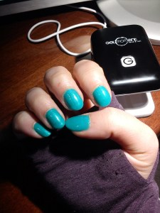 GelMoment's light teal nail polish, named April In Madrid