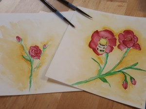 Practising with watercolours