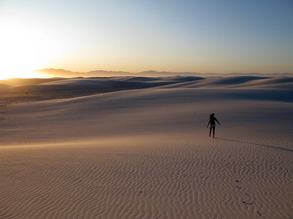 Sunset at White Sands National Monument.