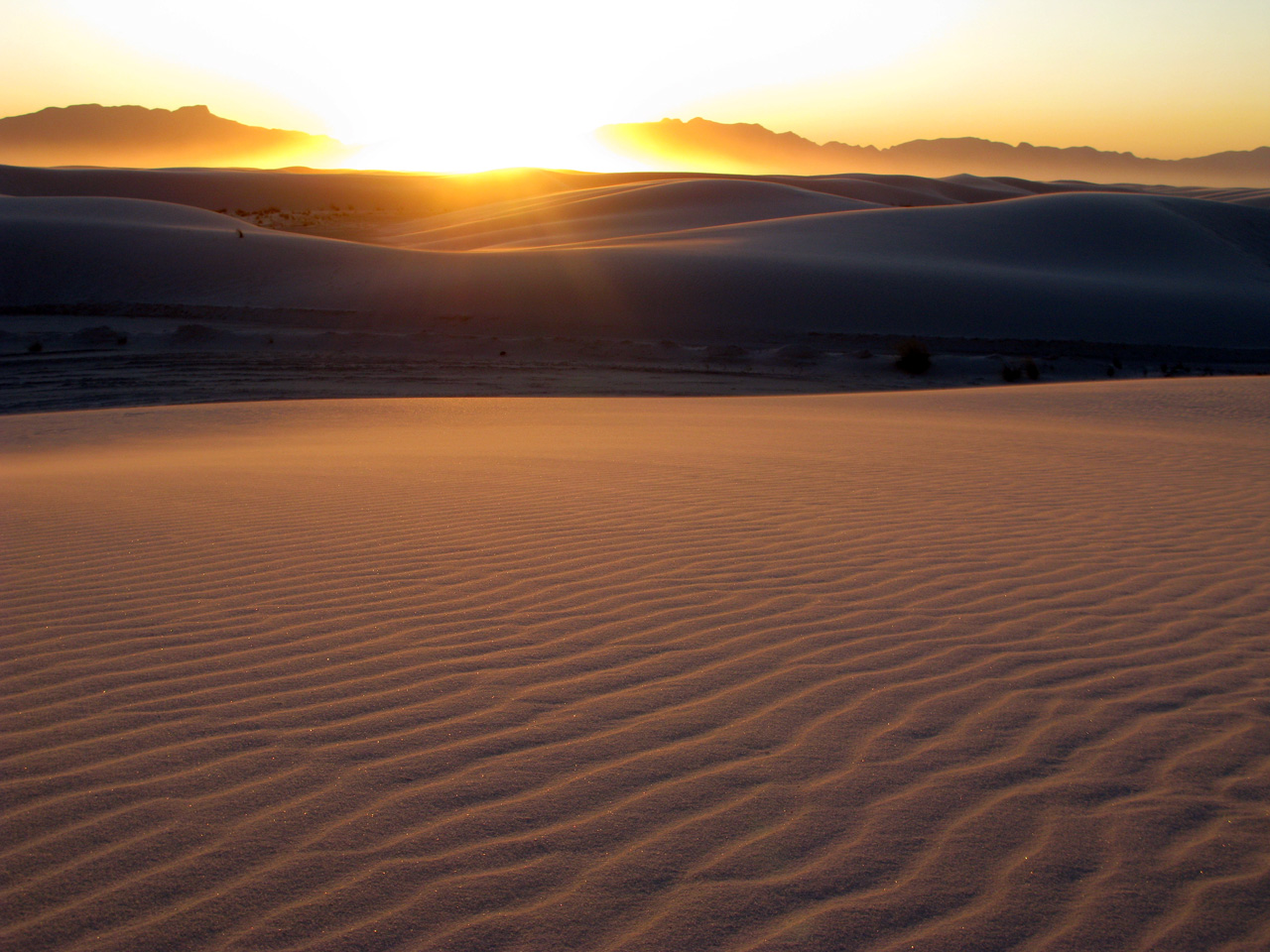 Sunset over White Sands National Monument.