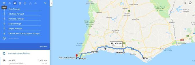 Ruta coche Algarve - El Viaje No Termina