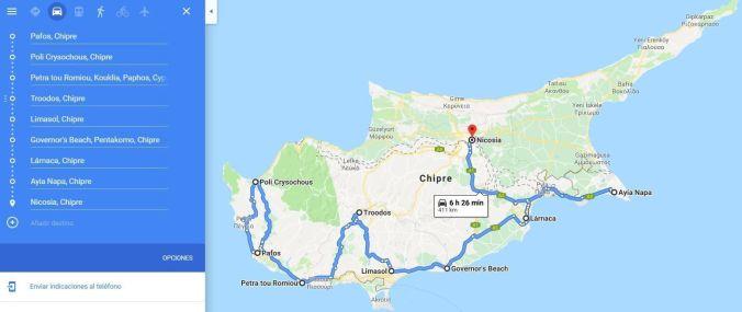 Ruta en coche por Chipre - El Viaje No Termina
