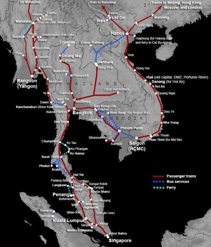 Mapa de Transportes Sudeste asiatico - El Viaje No Termina