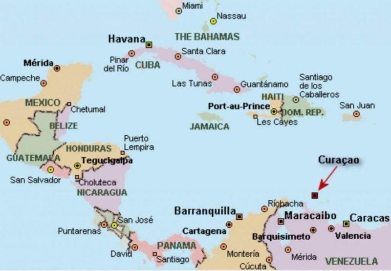 Curaçao _ Mapa de situación en América Central