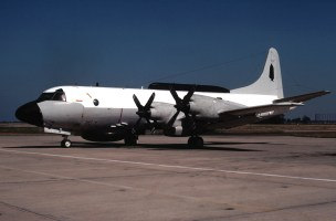 A left side view of a Fleet Air Reconnaissance Squadron 2 (VQ-2) EP-3B Orion aircraft parked on the flight line.