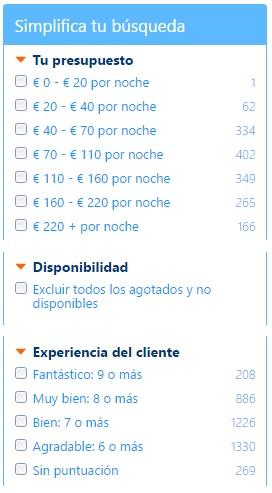 Lista de filtros hoteles baratos
