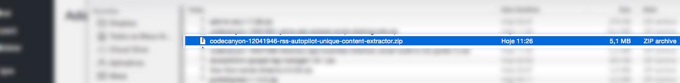 selecionando plugin zip em downloads