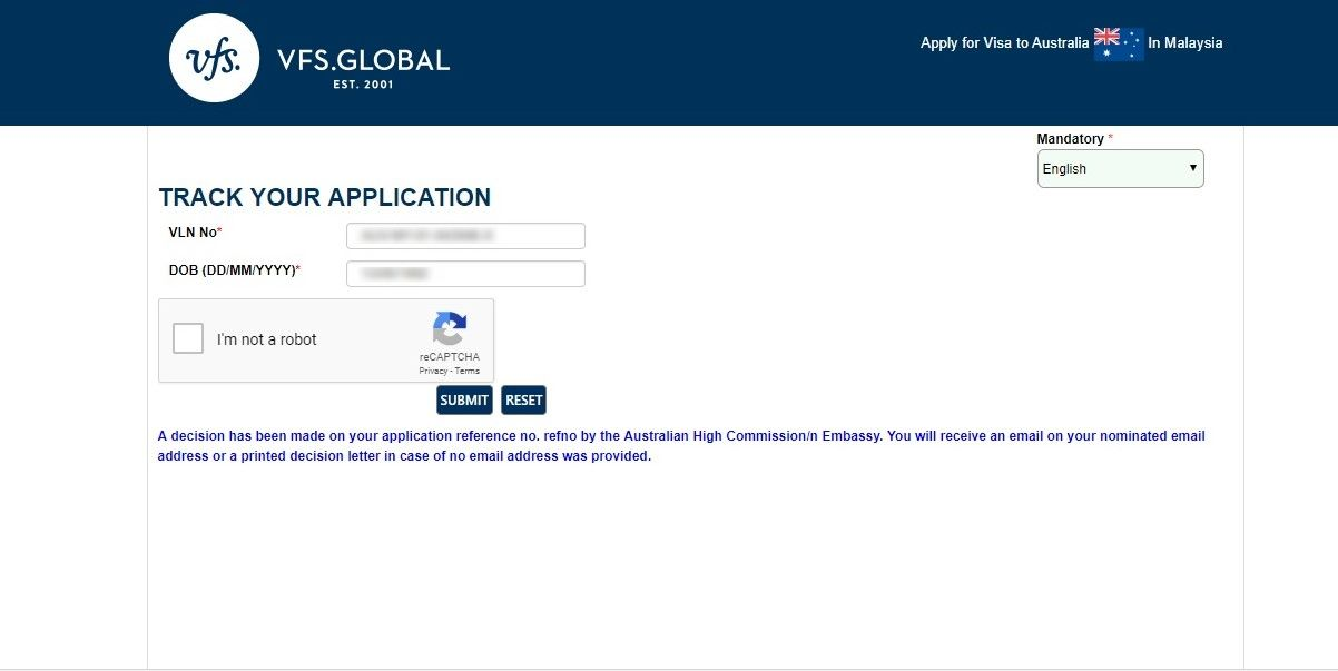Track Australia Visa Application