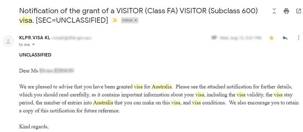 Australia visa application result