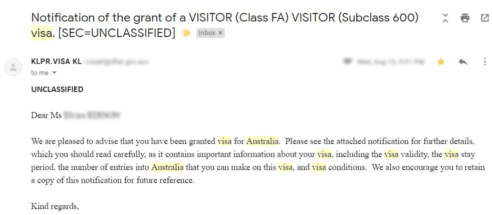 Australia visa application result