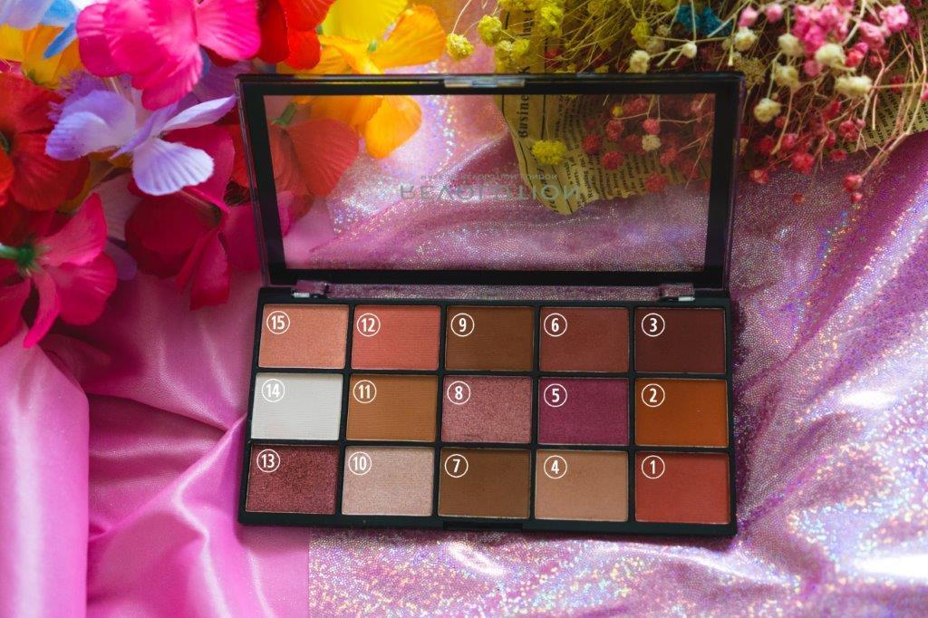 textured shadows palette rose gold edition makeup revolution swatches makeup revolution eyeshadow palette