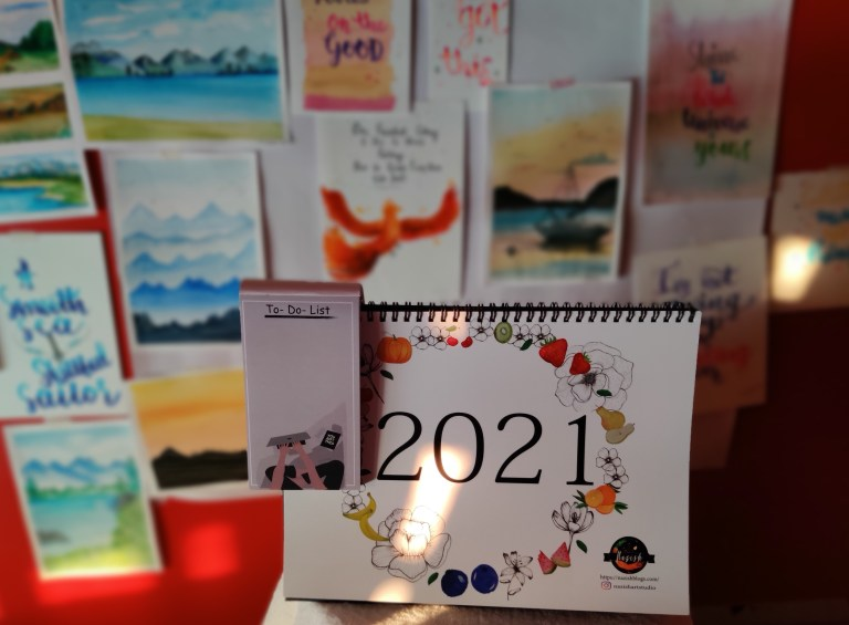 desk calendar using watercolours