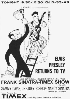 Elvis' Golden Caricatures Volume 5: caricature of Elvis and Sinatra by Hirschfeld.