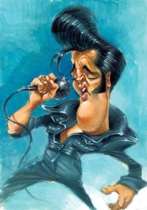 Elvis' Golden Caricatures Volume 5: caricature of Elvis by Joan Vizcarra.