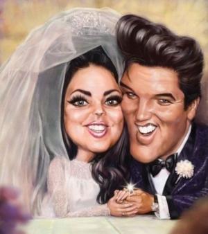 Elvis' Golden Caricatures Volume 5: caricature of Elvis and Priscilla's wedding by unknown artist.