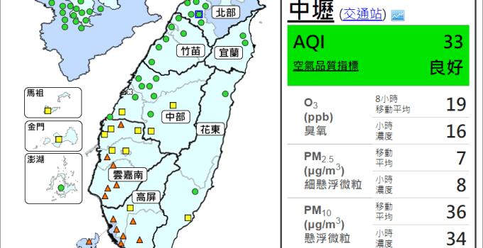 台灣空氣品質指數隨手查 PM2.5 霧霾快退散