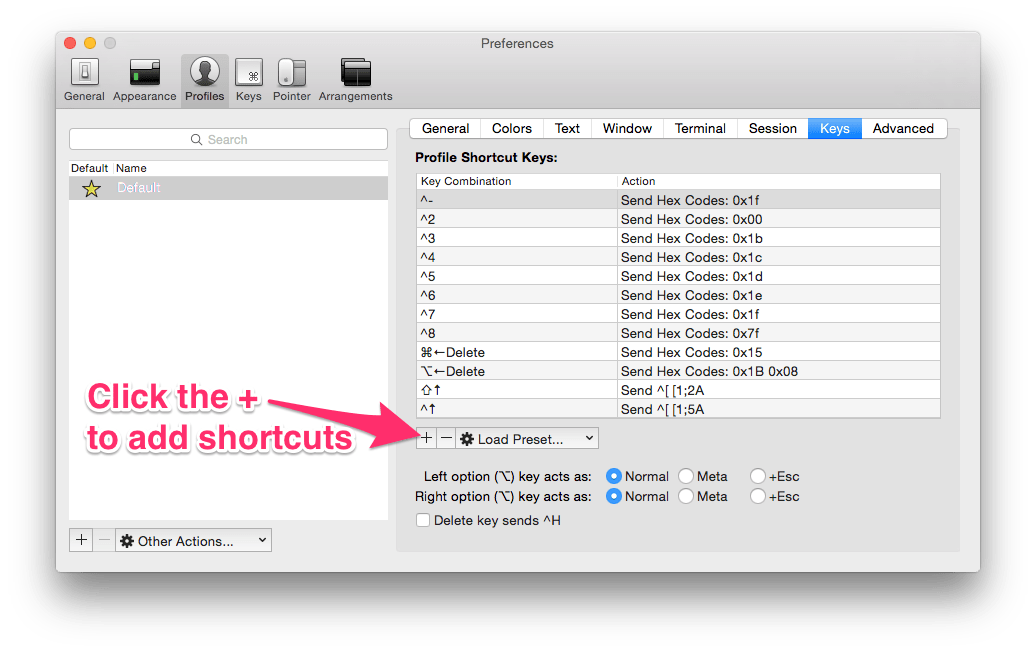 Making iTerm 2 work with normal Mac OSX keyboard shortcuts