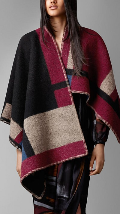 Colourblock Check Blanket Poncho by Burberry