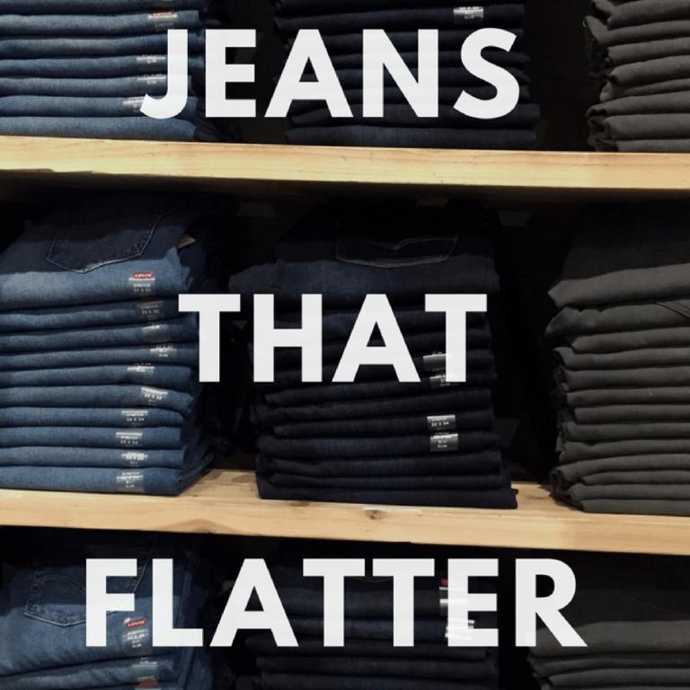 Jeans that flatter text overlay shelves of denim