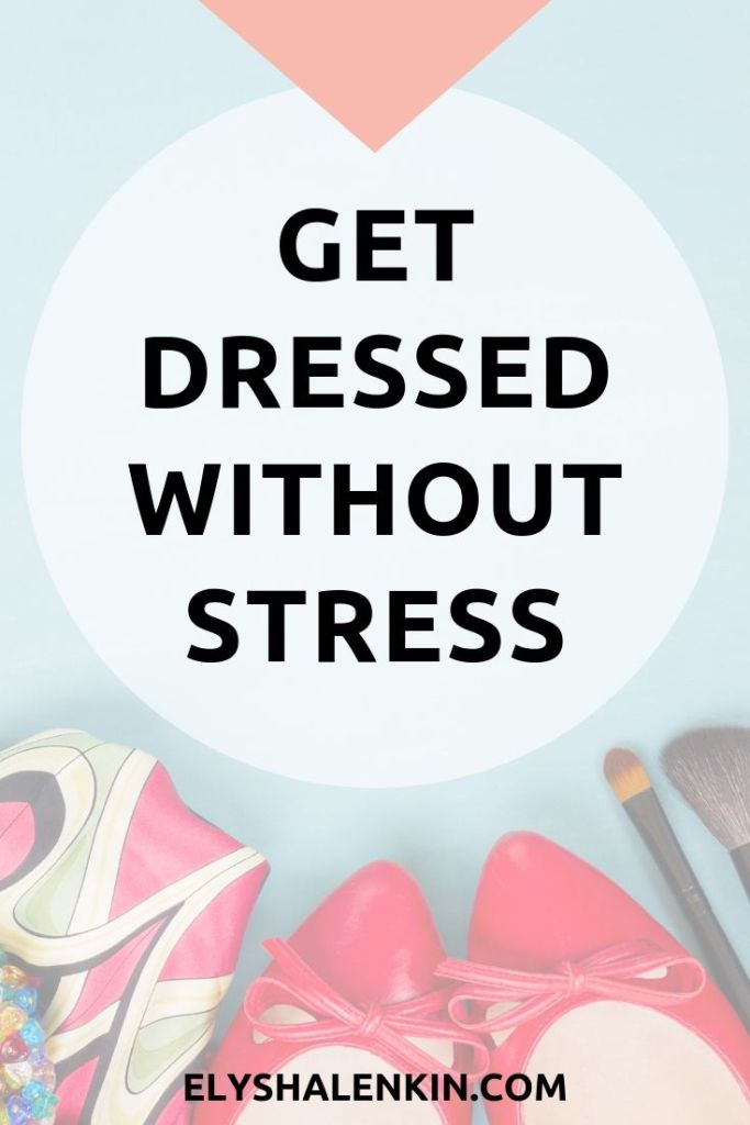 Get dressed without stress. Red shoes, colorful clothing items and make up brushes.