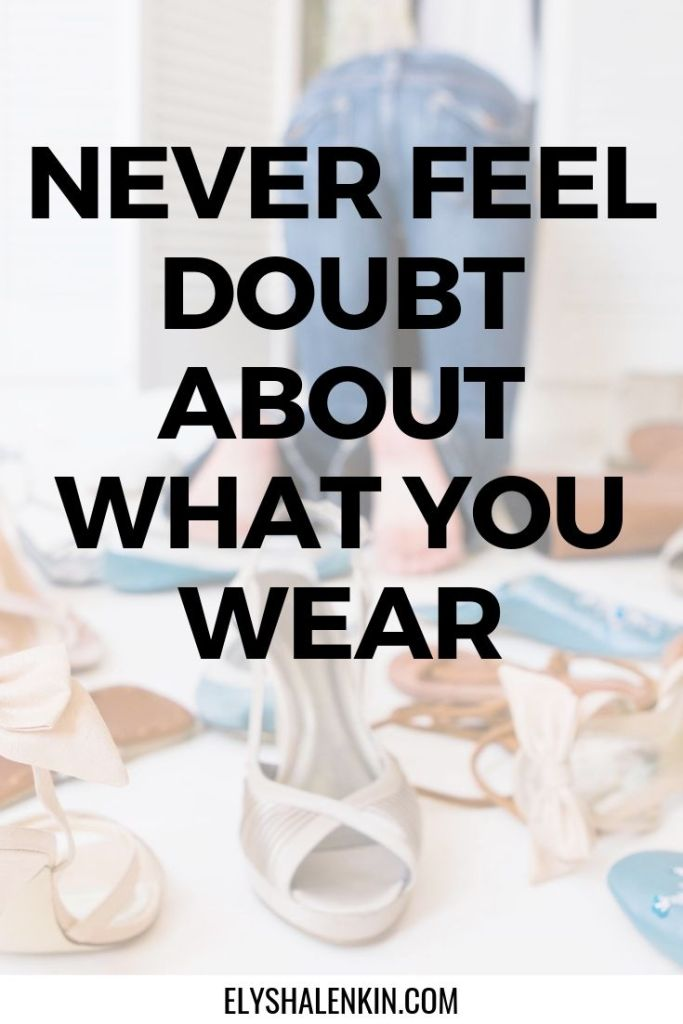 Never feel doubt about what you wear. Women wearing jeans in a pile of high heel shoes.