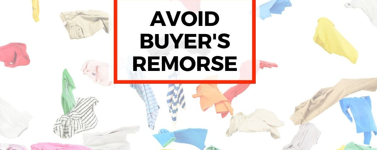 Avoid buyer's remorse. Pile of colorful clothes with plaid and stripes. Clothes are flying through the air.