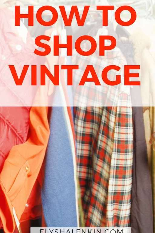 how to shop vintage text overlay plaid shirt and clothes hanging