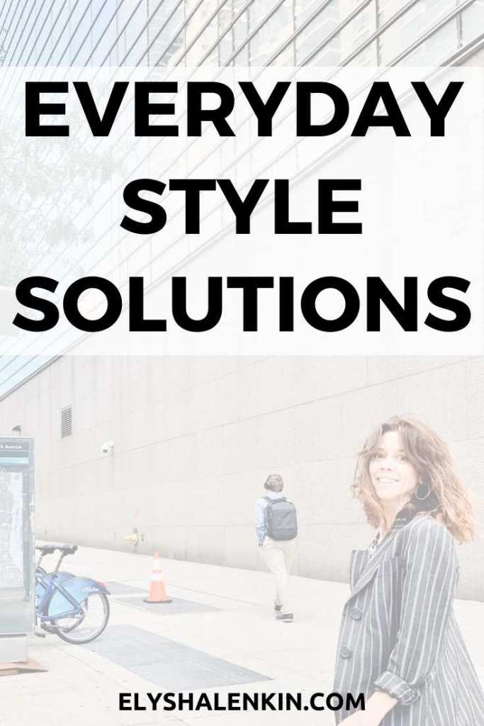Everyday style solutions text overlay image of woman walking on the street.