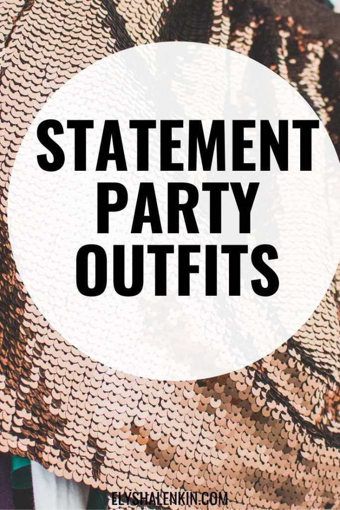 statement party outfits text overlay image of brown sequins