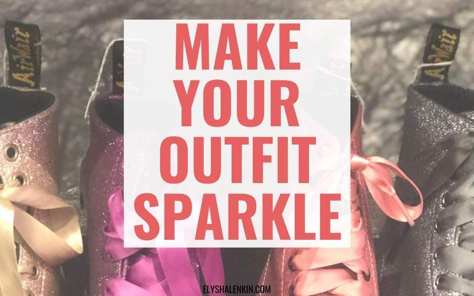 Make outfit sparkle text overlay sequin doc martins.