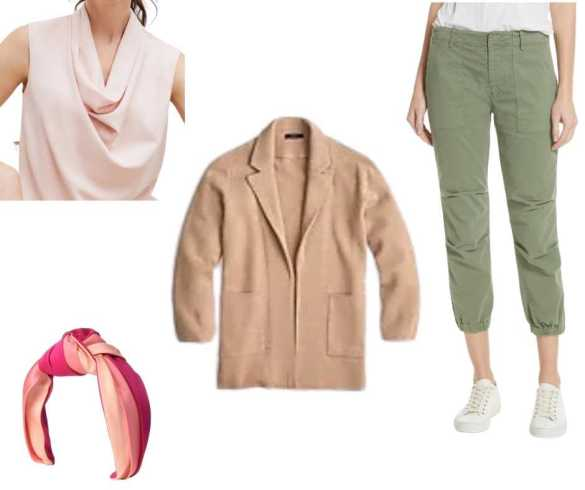 Clothing items: top, cardigan, pants and headband shown on white background.